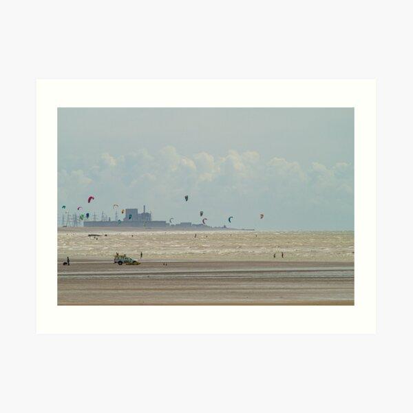 Kiteboarding at Camber Sands Art Print