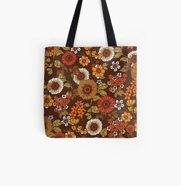 boho market bag and purple daisies Vintage floral vinyl shopping bag 1960/'s accessory flower power hippie tote bag yellow orange