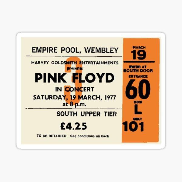 Pink Floyd Vintage Music Concert Ticket Graphic Design Sticker