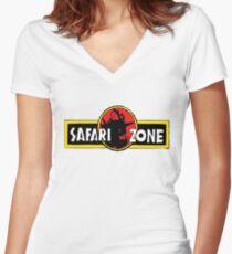 Safari zone pokemon jurassic park Women's Fitted V-Neck T-Shirt