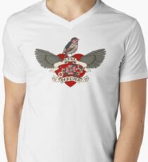 Old-school style tattoo heart with flowers and bird Men's V-Neck T-Shirt