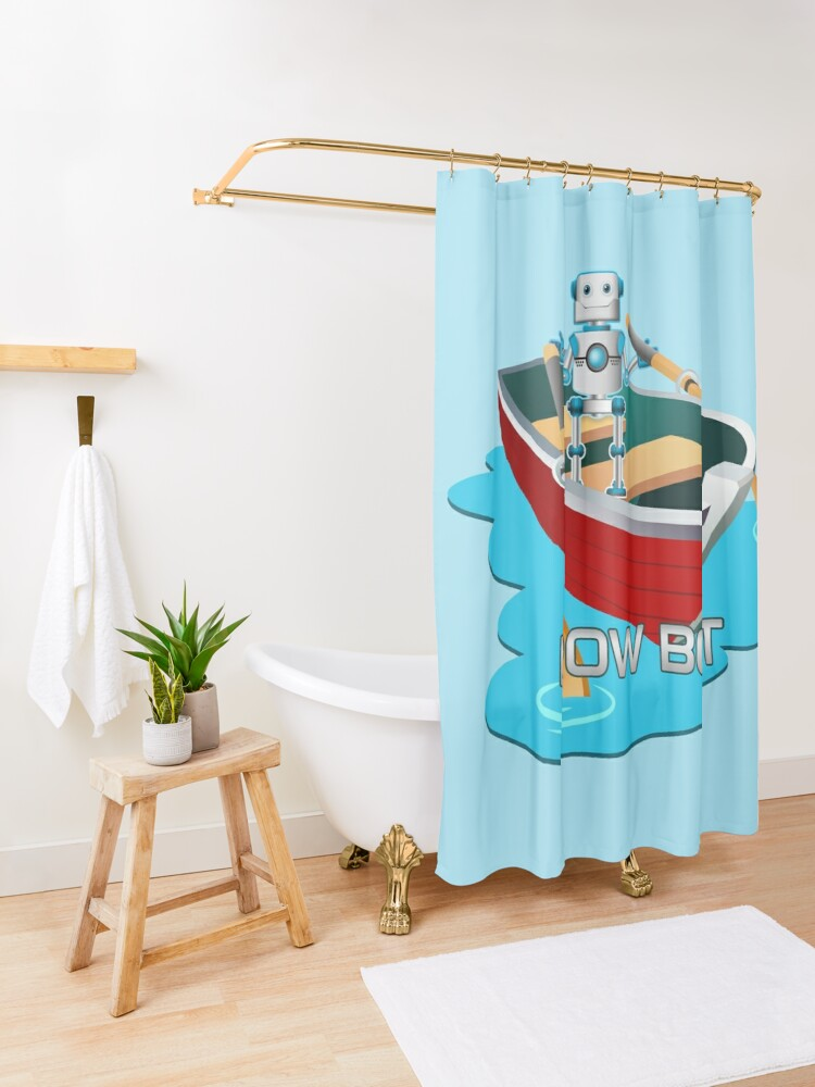 Alternate view of Row Bot. Shower Curtain