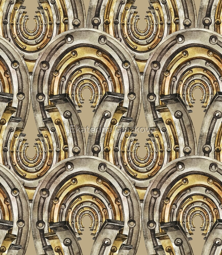 Abstract watercolor industrial seamless pattern. Steampunk style. Golden and silver metal arches by Ekaterina Glazkova