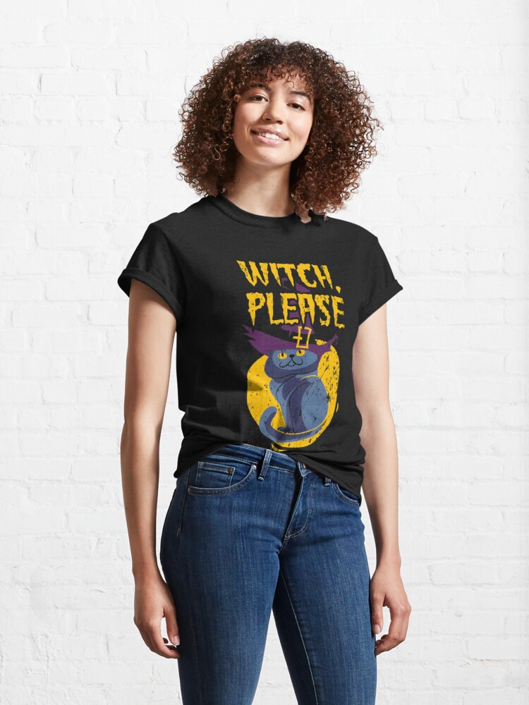 Alternate view of Halloween Kitty Witch Please Grunge Classic T-Shirt