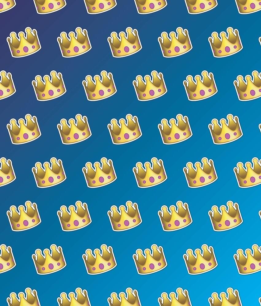 Crown Emoji Pattern Blue by Lucy Lier