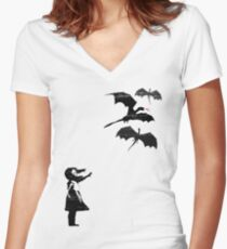 Dragons Will Be Dragons Women's Fitted V-Neck T-Shirt