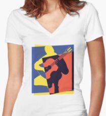 Pop Art Acoustic Guitar Player Women's Fitted V-Neck T-Shirt