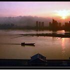 Sunset Over Looking The Gan River - Nanchang, China by Laura Puglia