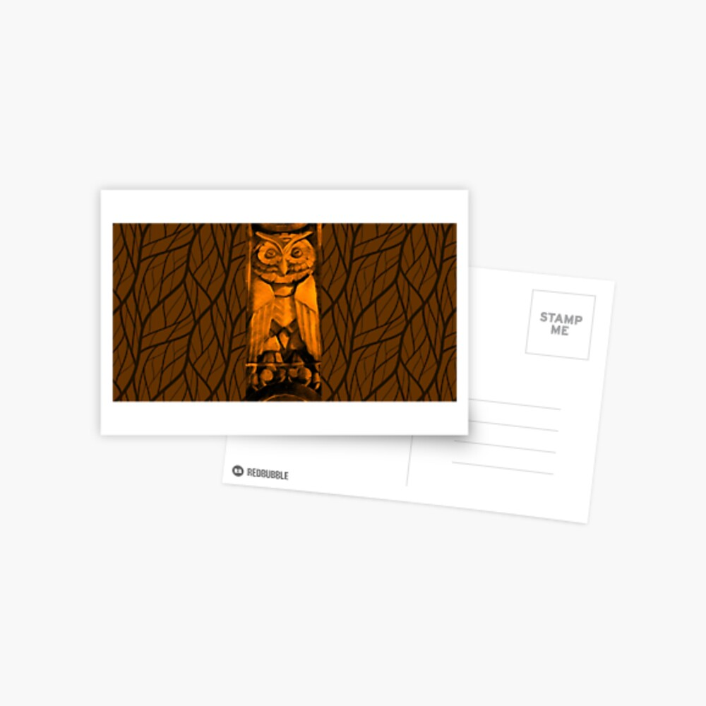 The Mysterious Owl-Fall Leaves Postcard