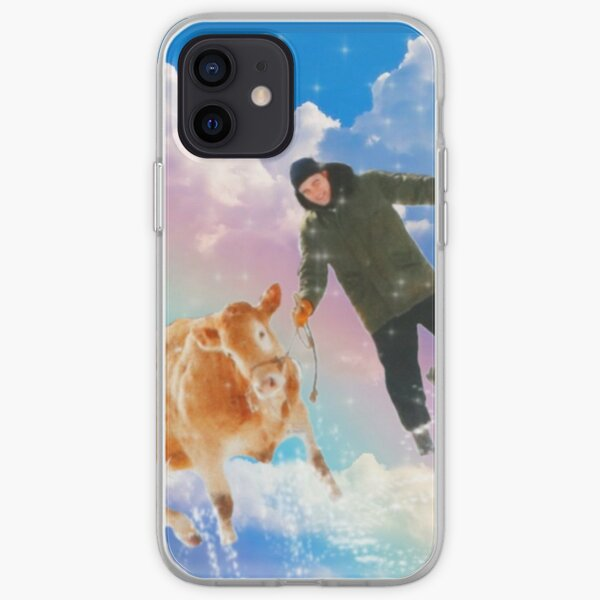 robert pattinson with a cow on a rainbow iPhone Soft Case