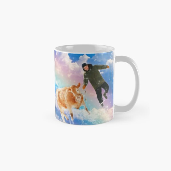 robert pattinson with a cow on a rainbow Classic Mug