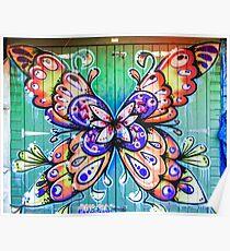 Butterfly Graffiti Poster