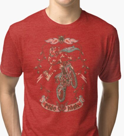 Motocross-Stitch Kitteh Tri-blend T-Shirt