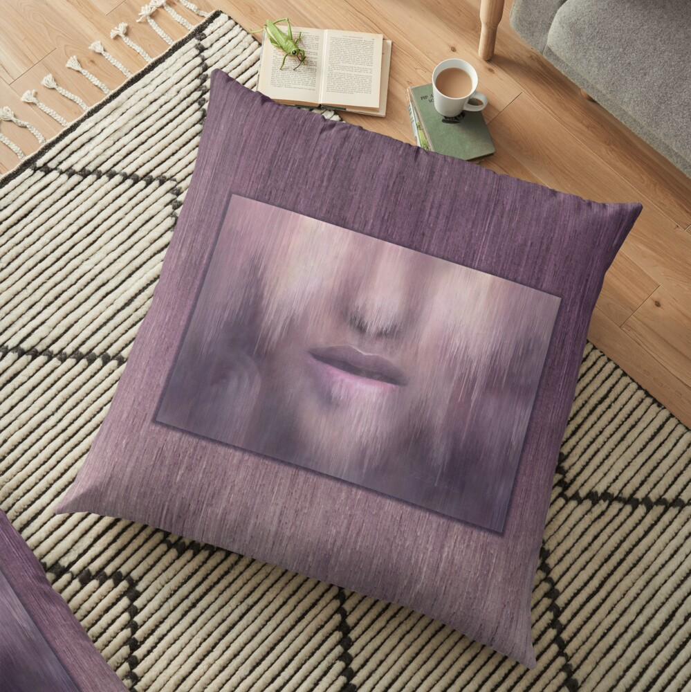 """""""Succumb"""" (tears, sadness, giving up) painting - """"Smile"""" Fine Art series Floor Pillow"""