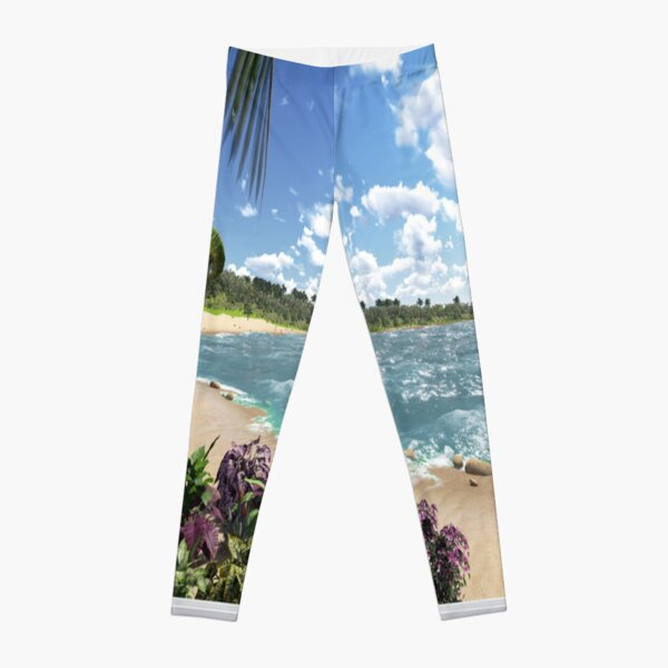 #Summer, #tropical, #beach, #water, sand, sea, island, travel, idyllic, sky, nature Leggings