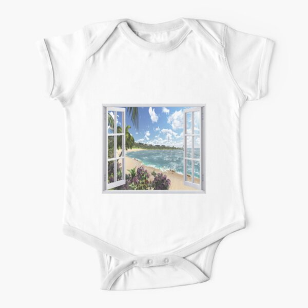 #Summer, #tropical, #beach, #water, sand, sea, island, travel, idyllic, sky, nature Short Sleeve Baby One-Piece
