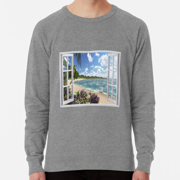 #Summer, #tropical, #beach, #water, sand, sea, island, travel, idyllic, sky, nature Lightweight Sweatshirt
