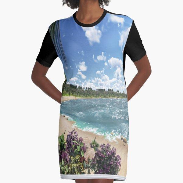 #Summer, #tropical, #beach, #water, sand, sea, island, travel, idyllic, sky, nature Graphic T-Shirt Dress
