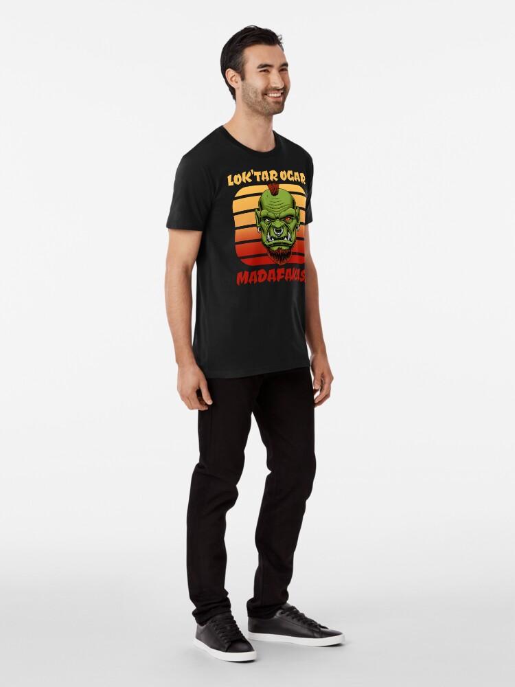 Alternative Ansicht von Kultiges MMORPG Motiv: Lok'tar Ogar Madafakas! Ork im Sonnenuntergang Premium T-Shirt
