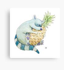 Raccoon & Pineapple Canvas Print