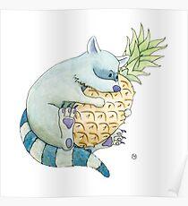 Raccoon & Pineapple Poster