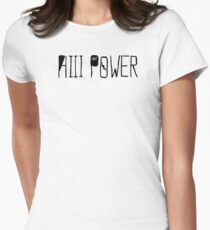 """HiiiPOWER (""""There He Go"""" Version / Black) Women's Fitted T-Shirt"""