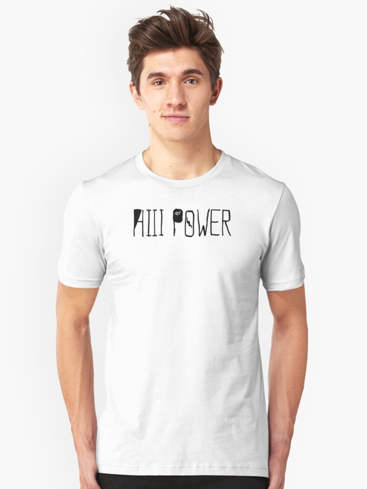 """HiiiPOWER (""""There He Go"""" Version / Black) Unisex T-Shirt Front"""