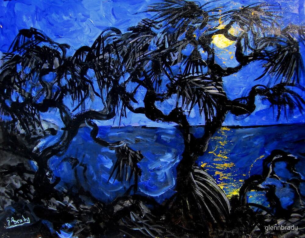 moon through the pandanus by glennbrady