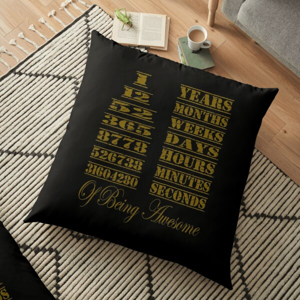 Awesome Birthday Gift 1 Years Old Vintage Retro 12 Months Floor Pillow