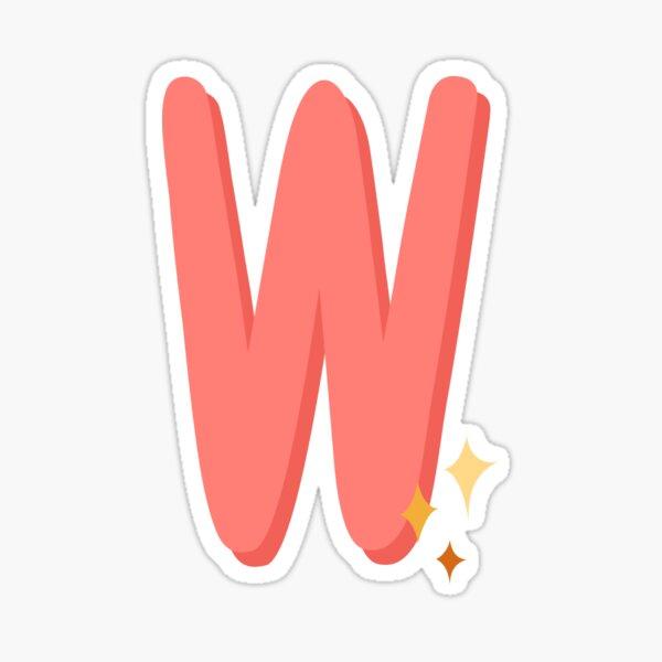 Cute Sparkly Alphabet Monogram Letter W Sticker