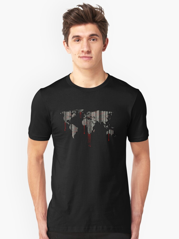 world map, barcode, blood dripping Unisex T-Shirt Front