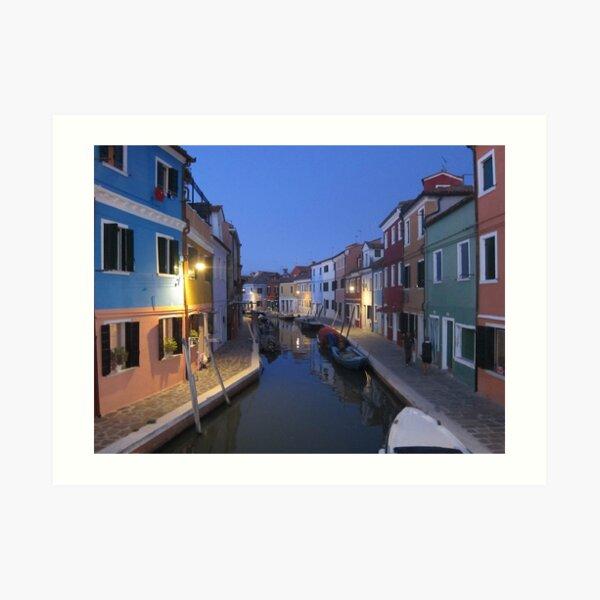 Evening, Canal, Burano, Venice Italy Art Print