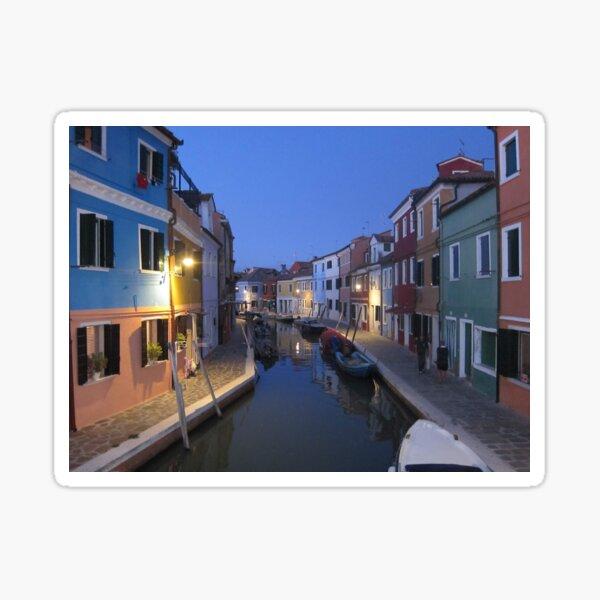 Evening, Canal, Burano, Venice Italy Sticker