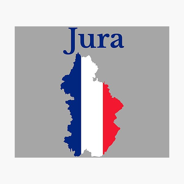 Jura Map, France, French Department Photographic Print
