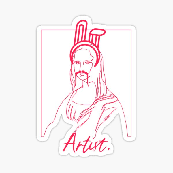 Funny Artist Design - Mona Lisa with Fake Mustache and Bunny Ears - for Artists Sticker