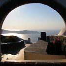 Window in Fira, Santorini by looneyatoms