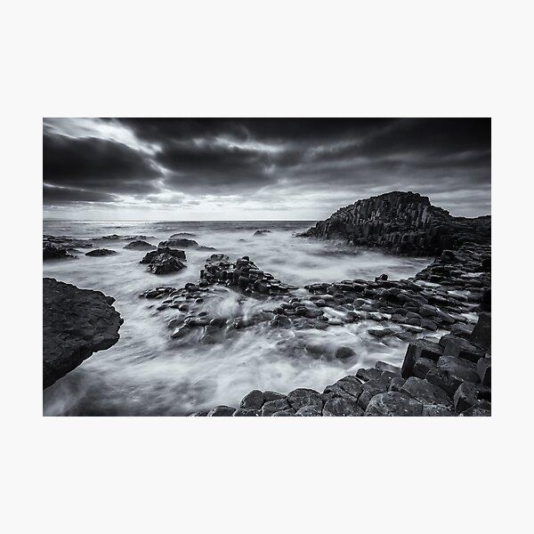 Giants Causeway Ireland Black and White Photography Photographic Print