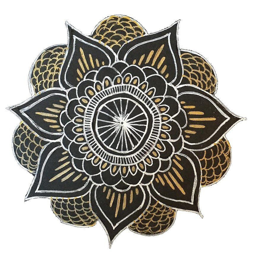 black and gold mandala by ayseart-un