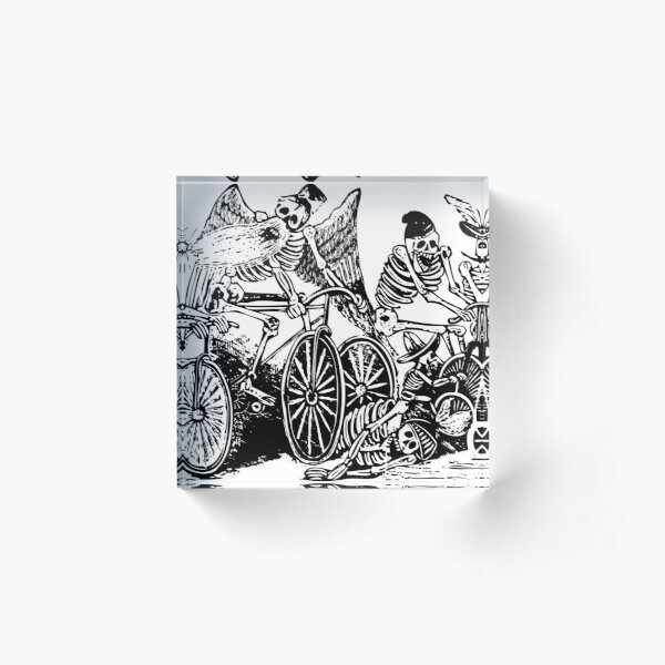 Calavera Cyclists | Day of the Dead | Dia de los Muertos | Skulls and Skeletons | Vintage Skeletons | Black and White |  Acrylic Block