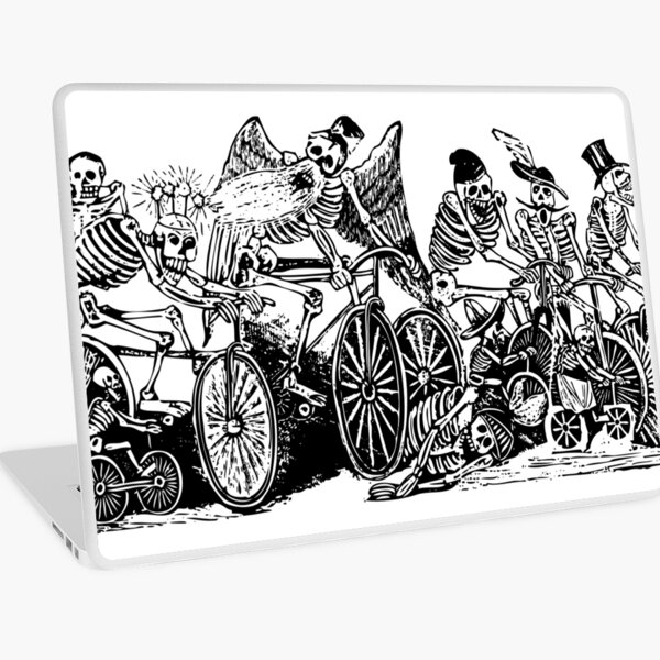Calavera Cyclists | Day of the Dead | Dia de los Muertos | Skulls and Skeletons | Vintage Skeletons | Black and White |  Laptop Skin