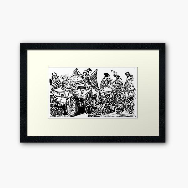 Calavera Cyclists   Day of the Dead   Dia de los Muertos   Skulls and Skeletons   Vintage Skeletons   Black and White    Framed Art Print