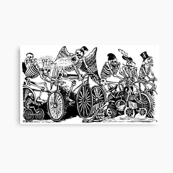 Calavera Cyclists | Day of the Dead | Dia de los Muertos | Skulls and Skeletons | Vintage Skeletons | Black and White |  Canvas Print