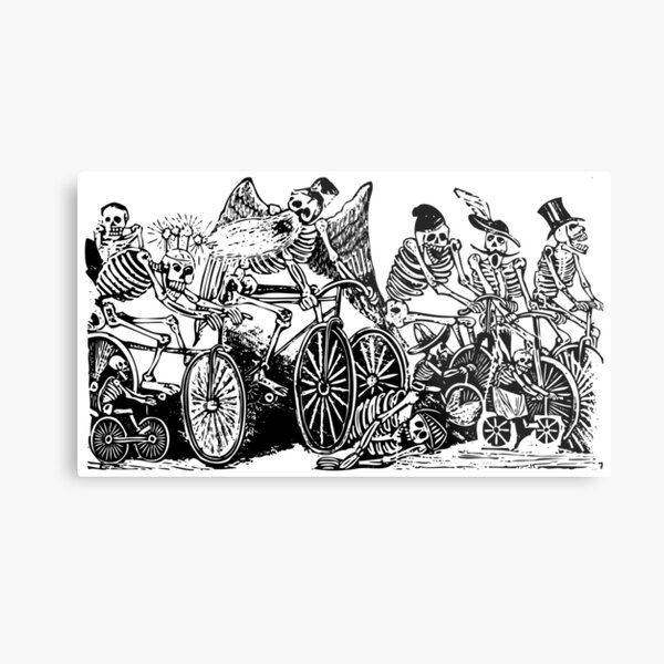 Calavera Cyclists   Day of the Dead   Dia de los Muertos   Skulls and Skeletons   Vintage Skeletons   Black and White    Metal Print