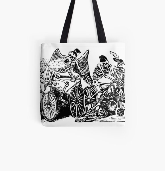 Calavera Cyclists | Day of the Dead | Dia de los Muertos | Skulls and Skeletons | Vintage Skeletons | Black and White |  All Over Print Tote Bag