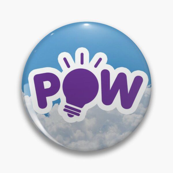 POW Purple Logo with Clouds Background Pin