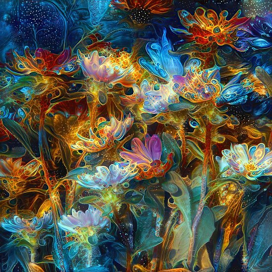 Fantasy floral abstract digital painting