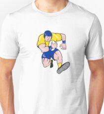 Rugby Player Running Charging Cartoon Unisex T-Shirt
