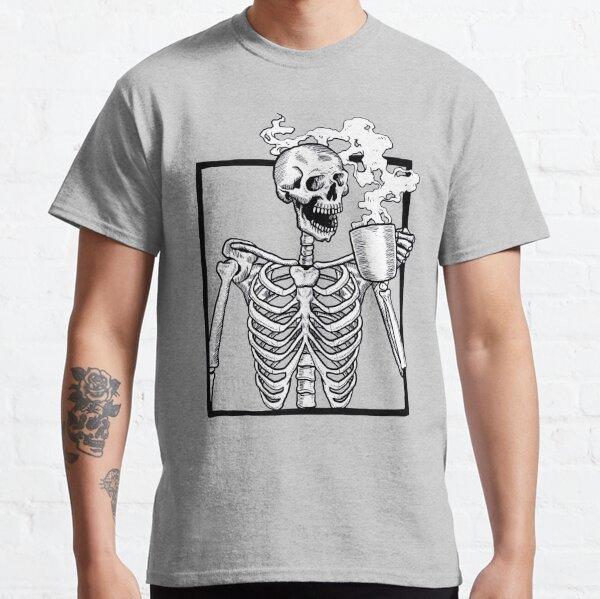 halloween skeleton drinking coffee funny Classic T-Shirt