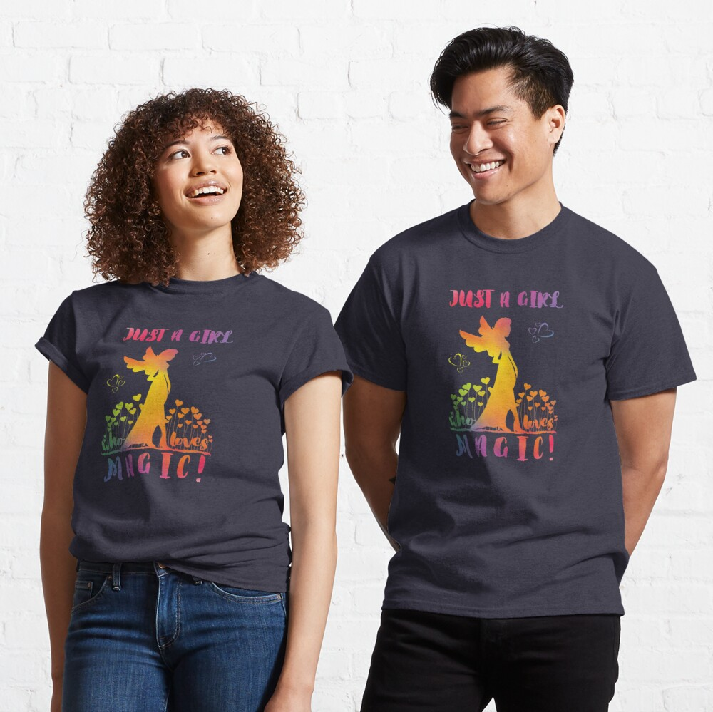 Just a Girl who loves Magic - Rainbow Fairy Hearts Classic T-Shirt