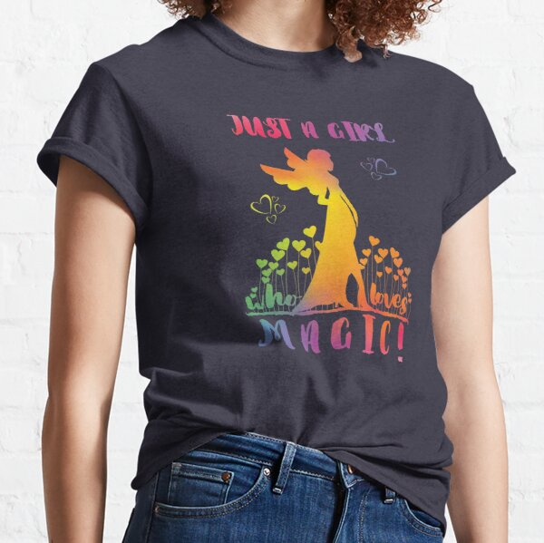 Just a Girl who loves Magic - Rainbow Fairy Hearts Classic T-Shirt